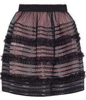 RED Valentino Faux Leather-Trimmed Gathered Point D'esprit Mini Skirt