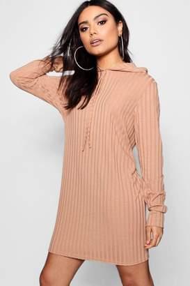 boohoo Oversized Hooded Rib Knit Dress