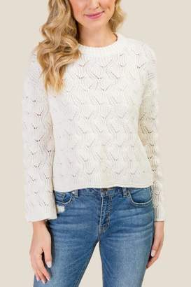 francesca's Mandy Bell Sleeve Pointelle Sweater - Ivory