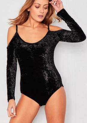 32da74de0d Missy Empire Missyempire June Black Crushed Velvet Cold Shoulder Bodysuit