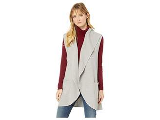 Mod-o-doc Birds Eye Sweater Draped Collar Long Vest