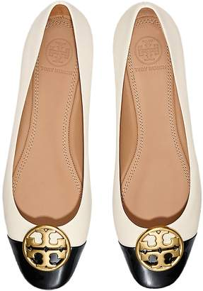 Tory Burch New Cream/Perfet Black Chelsea Cap-Toe Ballet Flat