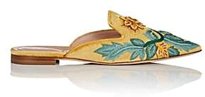 Alberta Ferretti Women's Floral-Embroidered Velvet Mules - Yellow