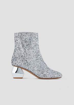 Emporio Armani Glitter Ankle Boots With Chrome-Plated, Hexagonal Heel