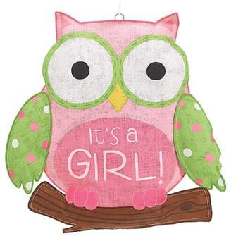 Burton It's a Girl Pink Owl Burlap Wall Hanging by &