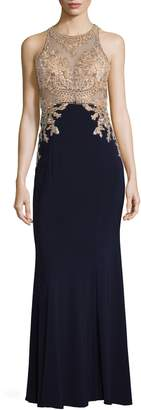 Xscape Evenings High Neck Embroidered Bodice Evening Dress