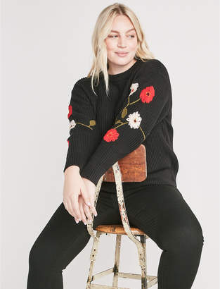 Lucky Brand FLORAL EMBROIDERED SWEATER