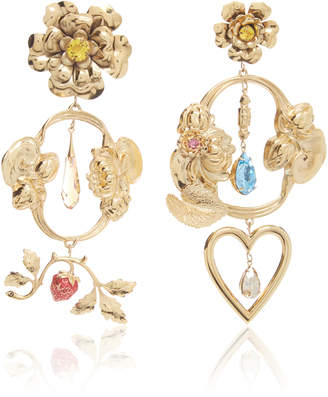Rodarte Gold Baroque Floral and Heart Dangle Earrings with Swarovski Crystal Details