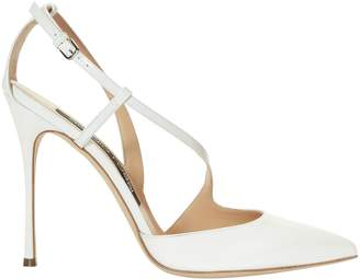 Sergio Rossi Godiva Patent Leather White Pumps