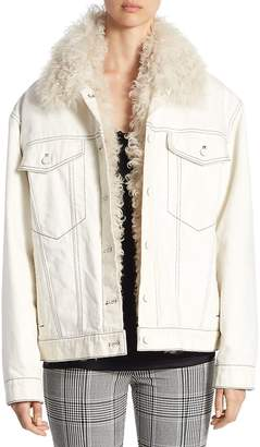 Alexander Wang Women's Shearling-Lined Denim Boyfriend Coat