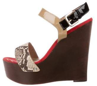 Jean-Michel Cazabat Embossed Ankle-Strap Wedges