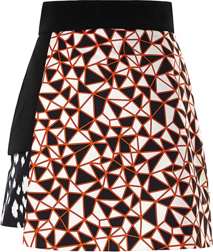 Fausto Puglisi Mixed Print Layered Mini Skirt