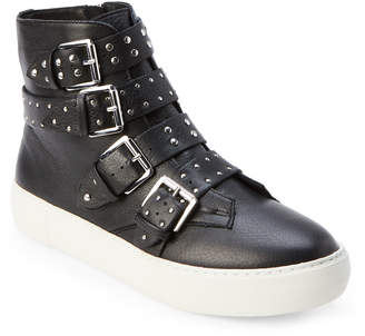 J/Slides Black Aghast Studded Strap High-Top Sneakers