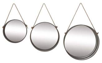 DecMode Decmode Farmhouse 15, 19 And 23 Inch Round Aluminum And Wood Mirrors With Hanging Rope Cord, Gray - Set of 3