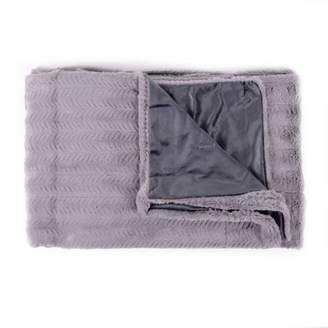 """Popular Home Products Decorative Reversible Faux Fur and Mink Throw Blanket 50"""" x 60"""" Rib Pattern"""