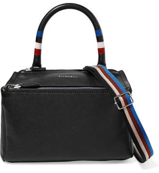 Givenchy Pandora Striped Textured-leather Shoulder Bag - Black