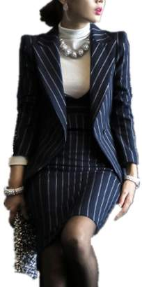 Smile-YZ Women's Two Piece Office Lady Business Stripe Blazer and Dress Suit Set