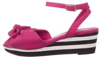 Charlotte Olympia Leather Bow Wedges Pink Leather Bow Wedges