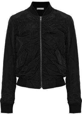 Vince Ruched Cotton-Blend Shell Bomber Jacket