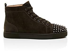 Christian Louboutin Men's Lou Spikes Flat Suede Sneakers-Dark Gray