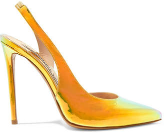 Alexandre Vauthier Amber Iridescent Leather Slingback Pumps - Gold