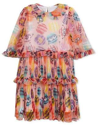 Fendi Collared Dress w/ Monster Pompom Print, Size 6-8