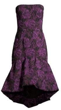 Aidan Mattox Strapless Jacquard A-Line Midi Dress