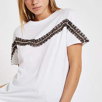 River Island Womens White leopard print diamante trim T-shirt