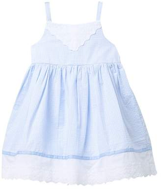 Pippa Pastourelle by and Julie Lace & Stripe Gingham Day Dress (Toddler Girls)