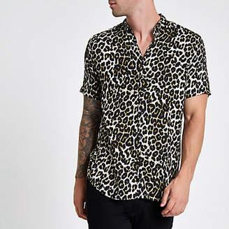 River Island Stone leopard print short sleeve revere shirt