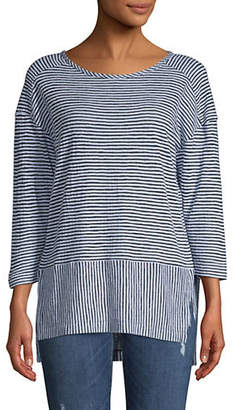 Jones New York Striped Stepped Hem Top