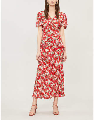Rixo Ladies Red Evie Floral-Print Silk Midi Dress