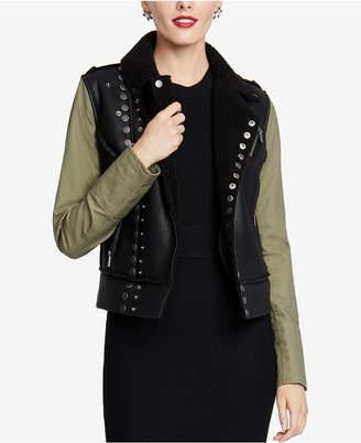 Rachel Roy Faux-Fur-Lined Moto Jacket