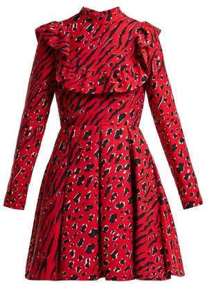 Valentino Leopard And Tiger Print Wool Blend Skater Dress - Womens - Red Print