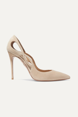 Aquazzura Forever 105 Cutout Suede Pumps