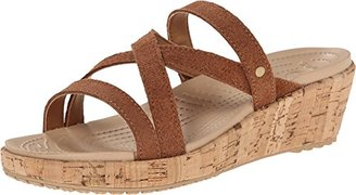 crocs Women's A-Leigh Shimmer Leather Mini Wedge $35.99 thestylecure.com