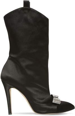 Swarovski 100mm Bow Satin Ankle Boots
