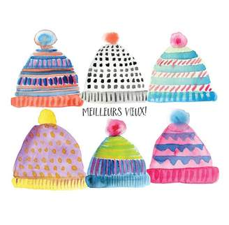 Paper E. Clips Boxed Cards - Colorful Toques (in French)