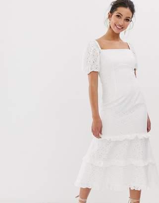 Keepsake Higher broderie square neck midi dress