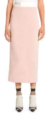 Fendi Pique Jersey Logo Knit Pencil Skirt