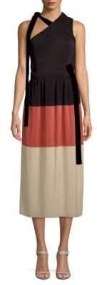 Derek Lam Colorblock One-Shoulder A-Line Dress