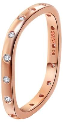 Opes Robur - Rose Gold Vermeil Stacking Ring With Diamonds