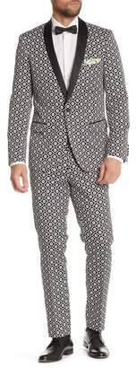 "Sloane Paisley & Gray Black with White Floral Pattern Flat Front Slim Fit Tuxedo Pants - 30-34"" Inseam"
