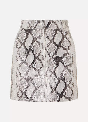 Maje Snake-print Leather Mini Skirt - Ivory