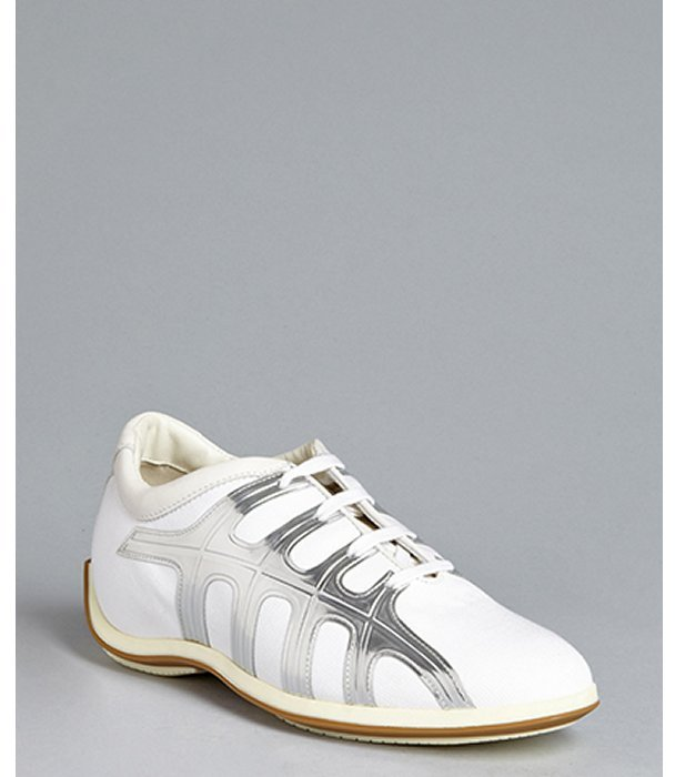 Hogan white and silver canvas leather stripe sneakers