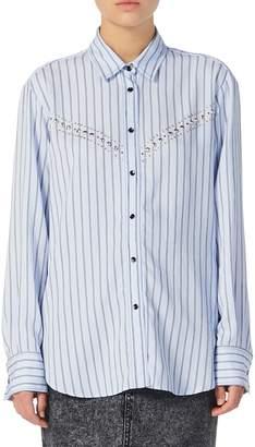 Sandro Viala Stripe Studded Shirt