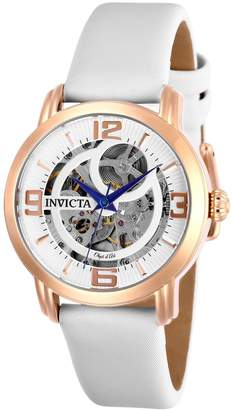Invicta Women's Objet D Art Leather Band Steel Case Automatic Watch 26292