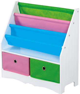Home Basics Mdf Kids Book Holder with 2 Canvas Bins