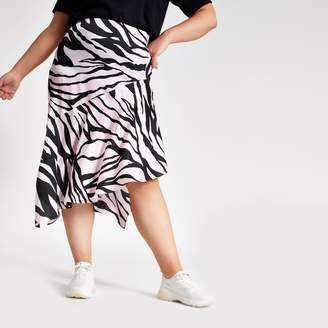 River Island Womens Plus Pink zebra print asymmetric midi skirt