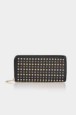 Yours Clothing Women's Metallic Studded Purse With Zip Close